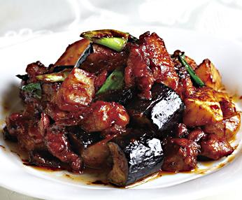 鶏肉と茄子の味噌炒め